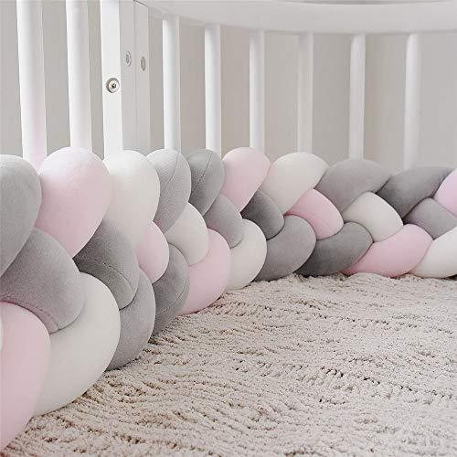 Cot Bumper Braid Kussen Baby Head Guard Bumper Knot Braid Kussen Kussen Voor Babybed (Color : L-PINK+WHITE+D-GRAY+GRAY, Size : 220CM)