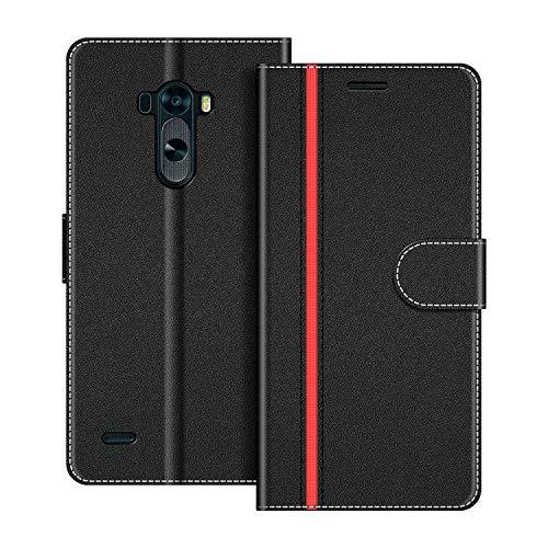 COODIO Handyhülle für LG G3 Handy Hülle, LG G3 Hülle Leder Handytasche für LG G3 Klapphülle Tasche, Schwarz/Rot