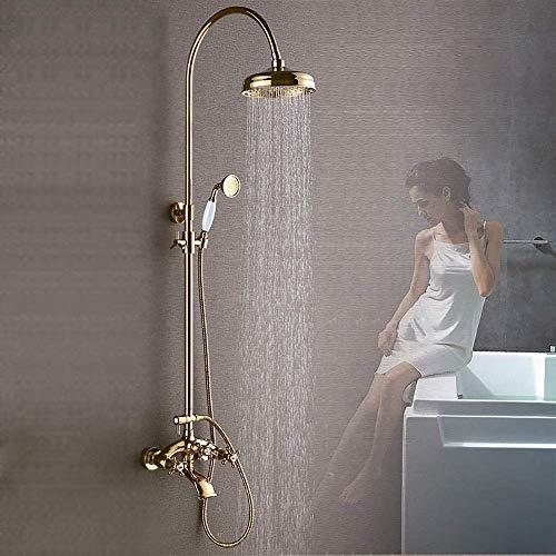 Yeeseu La boquilla de elevación de oro de cobre retro se puede ajustar por 30 grados de ajuste de tres velocidades Boquilla de boquilla de oro conjunto de baño con ducha grifo duradero