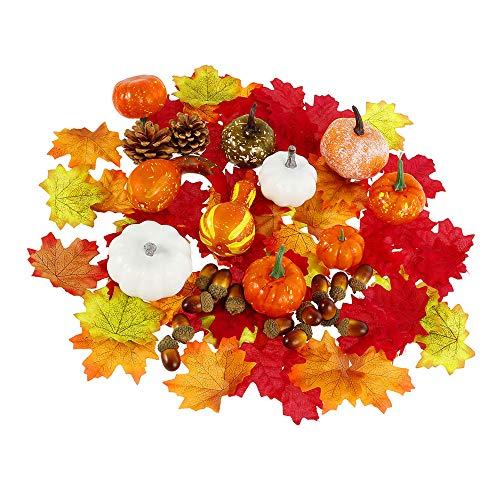 86 Stück Künstliche Kürbisse Herbstdekoration Set Thanksgiving-Dekoration Halloween Mini Künstliche Kürbisse Tannenzapfen Eicheln für Tischdekoration Hochzeiten Außendekoration Halloween Dekoration