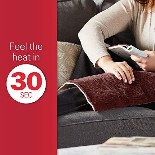 Sunbeam Heating Pad for Fast Pain Relief | X-Large, King XpressHeat, 6 Heat Settings with Auto-Shutoff | Burgundy, 12 x 24 Inch, X-Large