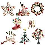 8 Piezas de Broche de Navidad, Alfiler para el Pecho, Muñeco de Nieve, árbol de Navidad, Calcetín de Navidad, Alce, Broche de Santa, alfileres, joyería de Navidad, Regalo para Mujeres