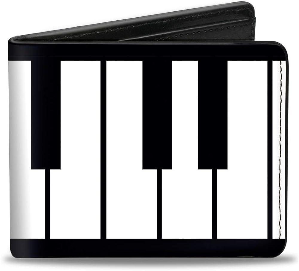 Buckle-Down mens Buckle-down Pu Bifold - Piano Keys Bi Fold Wallet, Multicolor, 4.0 x 3.5 US