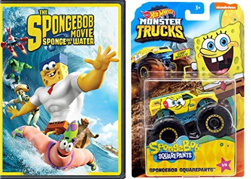 Revvvv'n Up With Spongebob Movie Sponge Out Of Water DVD + Hot Wheels Monster Trucks Spongebob Squarepants 1/5 Giant Wheels 1:64th Scale 2 Item Bundle