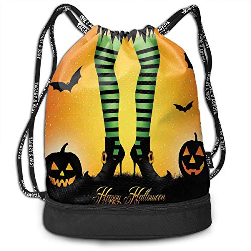 Multifunctional Drawstring Backpack for Men & Women, Cartoon Witch Legs With Striped Leggings Western Concept Bats And Pumpkins Theme Print,,Travel Bag Sports Tote Sack with Wet & Dry Compartments