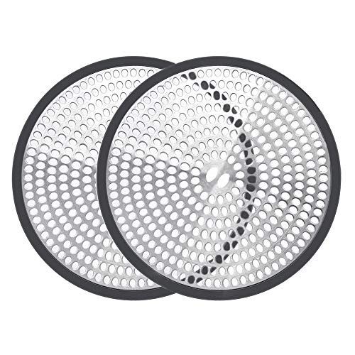 Shiwely Shower Drain Hair Catcher Trap Mesh Good Grips Easy Clean Drain Protector – Stainless Steel & Silicone (Black (1 pair))