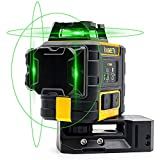 KAIWEETS 3x360° レーザー墨出し器 グリーンレーザー フルライン照射モデル パルスモードの自動補正建設レーザー 自動補正|傾斜モード 高輝度|高精度 最大40時間の操作時間 リチウム電池|充電可能 磁気ピボットベース|ターゲットプレート(KT360A)