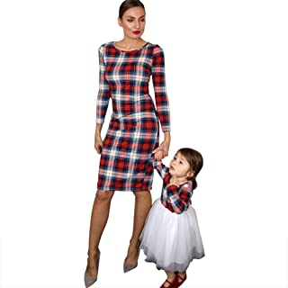 Mommy and Me Clothes Long Plaid Tulle Dress Long Sleeve Mother Daughter Matching Outfits