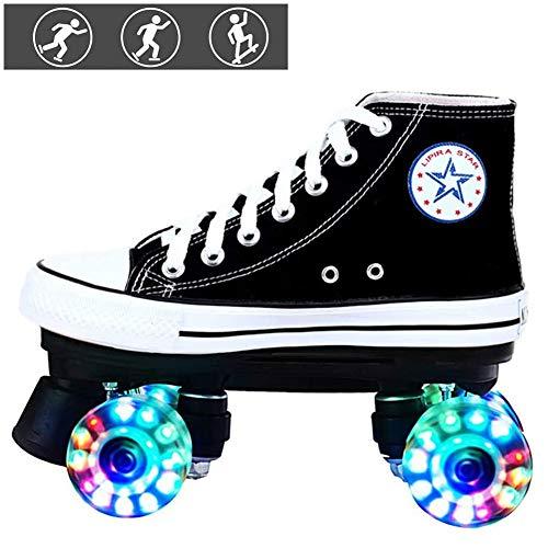 HJHY@ Rollschuhe mit 4 Rollen Unisex für Kinder Canvas Boot Komfortables Und Atmungsaktives Roller-Skates mit Zweireihigem Rad LED Street Rollerskates Black-42