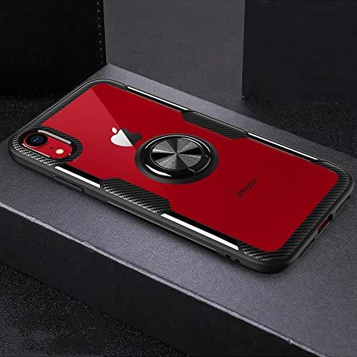 KCSds Caso del iPhone de Apple XR magnética Titular Grado Anillo de rotación 360 Caja Protectora de la Armadura (Color : Black)