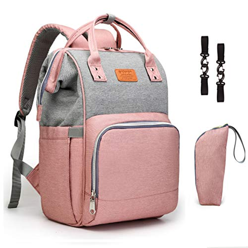 Diaper Bag Backpack Erdoran Multifunction Travel Back Pack Maternity Baby Changing Bags, Large Capacity, Waterproof and Stylish, Grey&Pink