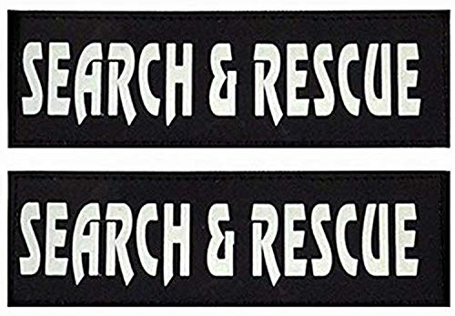 Umisun Removable Dog Patches for Vests & Harness - Reflective / 2' x 6' Large White Letter/2 Pack,Search Rescue