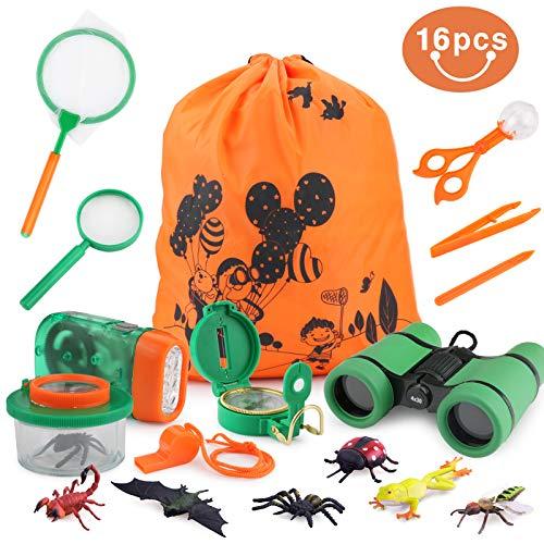 Idefair 16 STÜCKE Outdoor Explorer Kit, Outdoor Exploration Spiel Set für Jungen und Mädchen, Spielzeug Geburtstagsgeschenke Camping Wandern Spielen