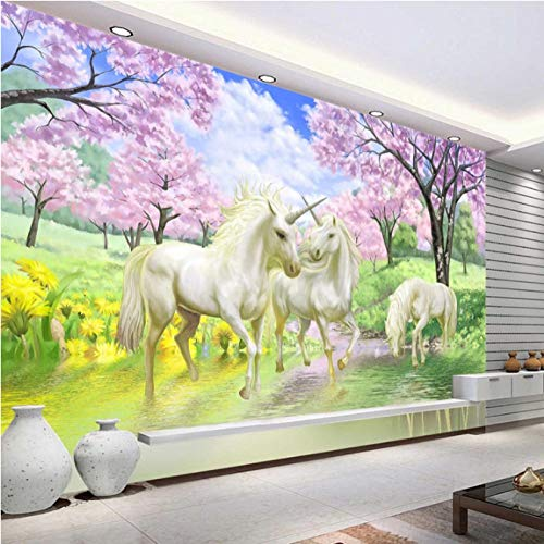 Mbwlkj 3D Individuelle Fototapete Einhorn Sakura Tapete Wandmalereien Schlafzimmer Kinderzimmer Kunst Raumdekor Coffee Shop Home-150cmx100cm