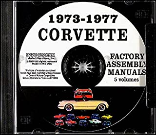 FULLY ILLUSTRATED 1973 1974 1975 1976 CORVETTE FACTORY ASSEMBLY INSTRUCTION MANUAL CD - INCLUDING; Base, Roadster, Sting Ray, Stingray, Coupe, Sport Coupe, T-Top, Convertible - VETTE 68