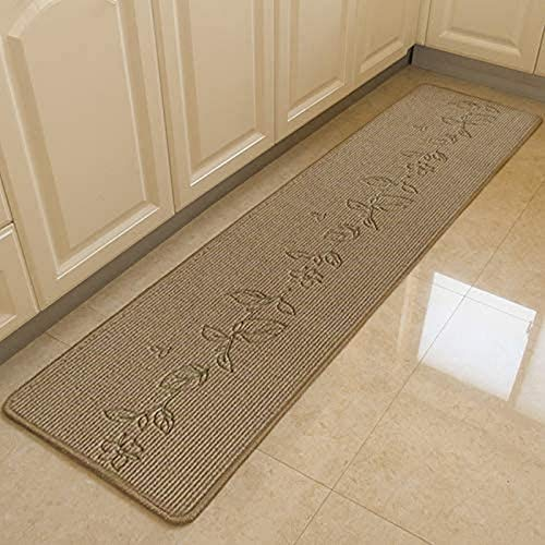 WGFGXQ Non-Slip Kitchen Mat Polypropylene Doormat Short Pile Rug Home and Office Rug Champagne Leaves 67x240cm1#