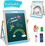 Arkmiido Kids Tabletop Wooden Easel Small,Portable Kids Easel Educationcal Magnetic Chalkboard & Whiteboard