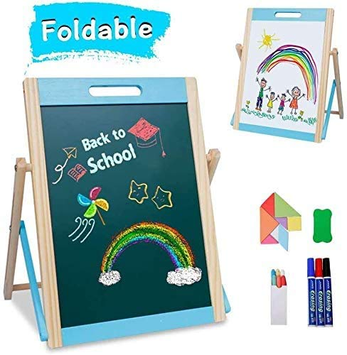 Arkmiido Kids Tabletop Wooden Easel Small,Portable Kids Easel Educationcal Magnetic Chalkboard & Whiteboard Double Sided with Chalk, Markers, Eraser for Kids Toddlers Writing & Drawing 3+