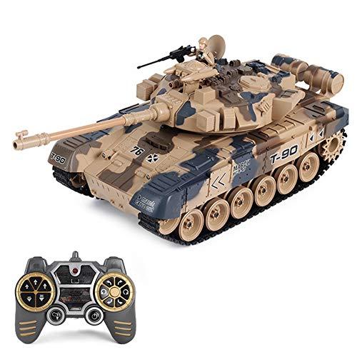 FXQIN 1:16 Tanque de Batalla RC con Cable de Carga USB, Tanque Teledirigido Coche de Juguete con Mando a Distancia Interactivo Grande y Pesado con torreta giratoria, Realistas y Luces