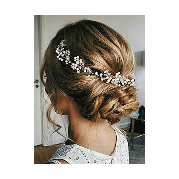 Aimimier Bridal Headband Pearl Hairpiece Rhinestone Wedding Headpiece Crystal Hair...