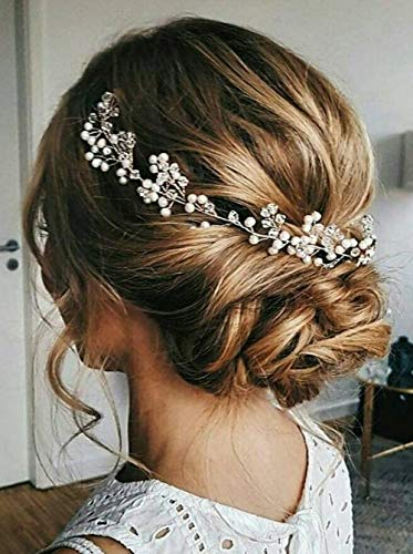 Aimimier Bridal Headband Pearl Hairpiece Rhinestone Wedding Headpiece Crystal Hair Accessories Bridesmaid Flower Girl Prom Jewelry for Women and Girls