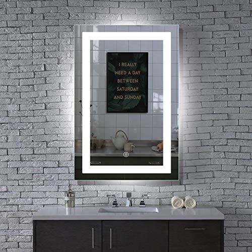 MAVISEVER 24x36 Inch LED Wall Mounted Bathroom Mirror, Anti Fog, High Lumen Lights & True CRI 90+, ETL Certification & IP 44 Waterproof, Smart Touch Button, Vertical & Horizontal, Hilton