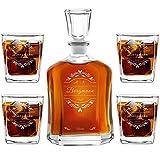 Murrano Whiskey Karaffe + 4er Whiskygläser Set mit Gravur - 700ml Whisky Dekanter - Geschenk zum Hochzeitstag für Paar - Monogramm