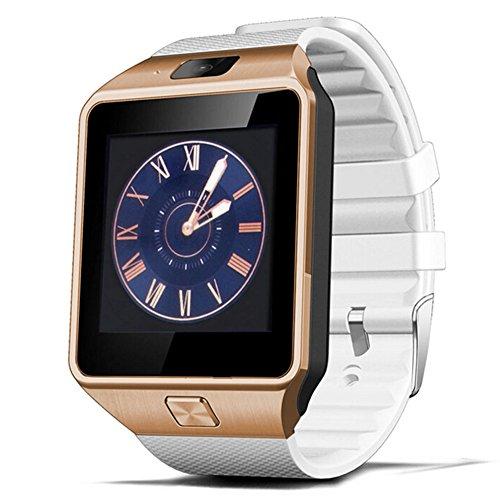 Bluetooth Smartwatch, Fitness Armbanduhr mit SIM Card Slot GSM Sport Watch Activity Tracker mit Kamera Pedometer Smart Gesundheit Armbanduhr Schlaftracker Handy für Android (Weißes-Gold)