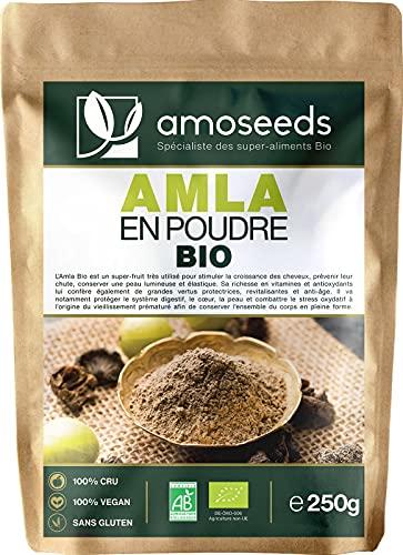 Amla en Poudre Bio 250G   Qualité Supérieure   Cheveux robustes, Anti-chute, Belle Peau,...