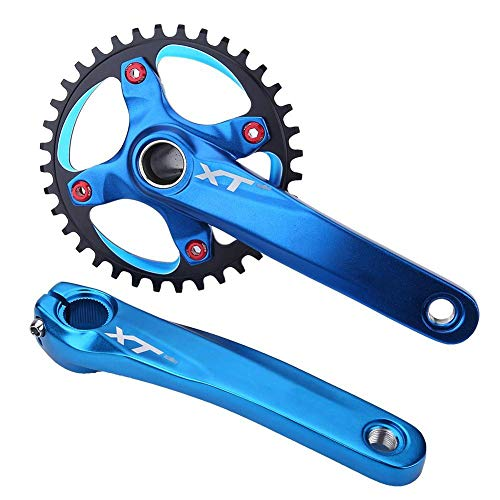 OKBY Juego de bielas - Juego de bielas de aleación de Aluminio para Bicicleta de montaña Piñón Integral de una Velocidad(Azul)