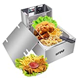 Deep Fryer Tank 2500W Stainless-Steel Basket Electric Fryer with Timer Free Extra Odor...