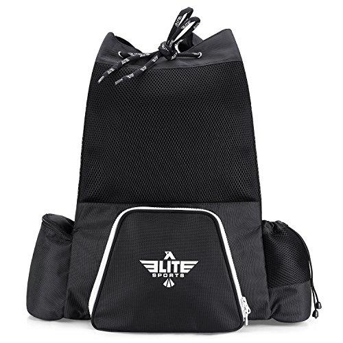Elite Sports NEW ITEM Black Mesh MMA, Bjj, Gear Gym Drawstring Backpack (Medium)
