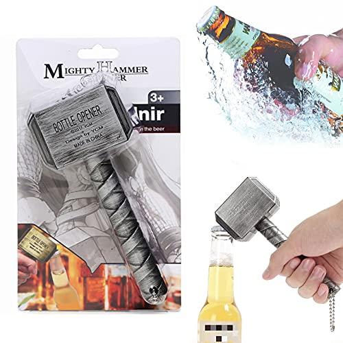 SHUANGJUN Hammer - Abrebotellas de cerveza, portátil, duradero, ideal como pequeño regalo, abridor de cerveza, adecuado para familias, restaurantes, bares, hoteles, accesorios creativos (plata)