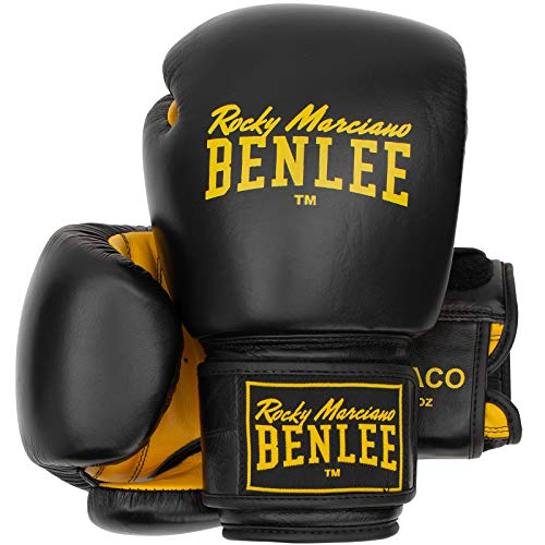 BENLEE Rocky Marciano Unisex – Erwachsene Draco Leather Boxing Glove, Black/Yellow, 12 oz