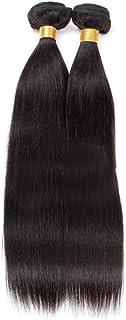 Vergeania 100%人毛バンドルブラジルバージンヘアエクステンション横糸レミーストレート#1Bナチュラルブラック(1バンドル、50g)ロングストレートヘア (色 : 黒, サイズ : 28 inch)
