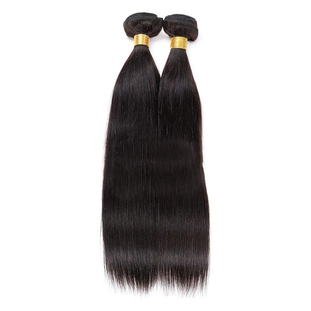 やさしいストレス税金HOHYLLYA 100%人毛バンドルブラジルバージンヘアエクステンション横糸レミーストレート#1Bナチュラルブラック(1バンドル、50g)ロングストレートヘア (色 : 黒, サイズ : 12 inch)