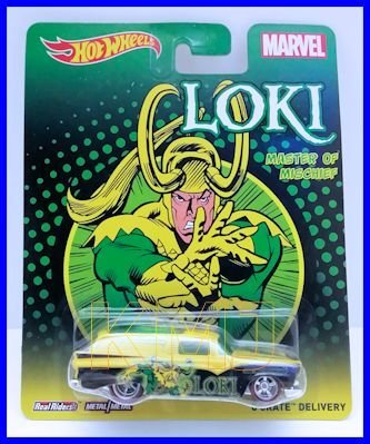Hot Wheels Pop Culture Marvel Loki 'Master of Mischief' 8 Crate Delivery