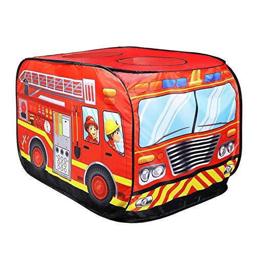 Kinder Pop Up Spielzelt Spielzeug, Kinder Stoff Feuerwehrmann Auto Spielzeug Zelt Feuerwehrauto Polizeiwagen Spielhaus, faltbares Spielhaus Feuerwehrauto Spielhaus Bus für den Außen- und Innenbereich