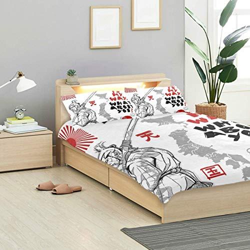 Juego de funda nórdica en inglés Traducción inglesa Heaven Samurai Juego de diseño gráfico Decoración de ropa de cama 3 juegos de PC 1 fundas nórdicas con 2 fundas de almohada Juego de cama de microfi