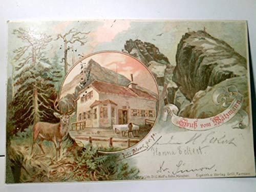 Gruss vom Watzmann. Alte Zweibild Künstler - Litho / AK farbig. gel. 1898. Jul. Blanc. Watzmannhaus, Gebirgsmassive mit Gipfelkreuzen, Hirsch, Hüttenstempel