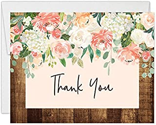 Rustic Floral Thank You Notecards with Envelopes (Pack of 25) Folded Cards Vintage Shabby Chic Thanks Engagement Baby Bridal Shower Match Rustic Flower Birthday Invites Excellent Value Notes VT0064B