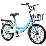Kaibrite Bicicletta per bambini da 20 pollici, in carbonio e acciaio, per ragazzi e ragazze, colore blu, con cestino, sport all'aria aperta, per bambini da 115 a 130 cm