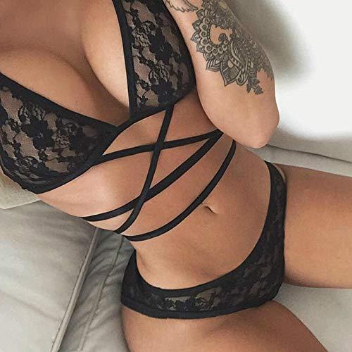HTRP Ropa erótica Nuevo Conjunto de Ropa Interior de Pecho Chino para Mujer tetona Sexy de Encaje Negro L