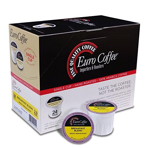 Euro Coffee Breakfast Blend, 24 Count Single-Serve K-Cup Keurig Compatible. Award Winning Artisan Coffee Roaster