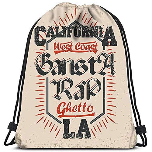 Dingjiakemao Mochila De Bolsa Bolsas De Zapatos Vintage Grunge California West Coast Rap La Yoga Runner Daypack