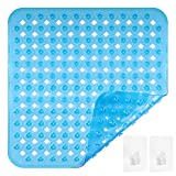 Wishstar Tappetino Doccia, Tappeto Antiscivolo da Doccia e da Bagno, Tappetini Quadrato con Ventose, Lavabile in Lavatrice, 53x53 cm (Blu)