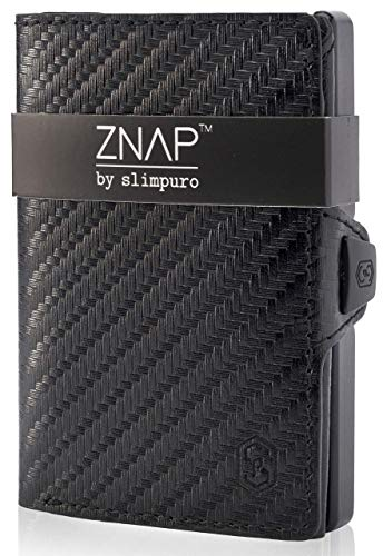 ZNAP Credit Card Holder Wallet with Money Clip - Aluminium Wallet with Coin Case - RFID Blocking - Slim Wallet Carbon - Up to 12 Cards - Mens Card Wallet - Mens Card Wallet (CARBON, 12-Card)