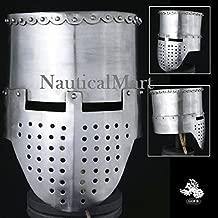 NAUTICALMART 12th - 13th Century Crusader Flat Top Helmet - 14 Gauge