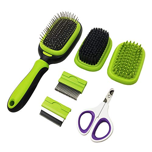 PetHaven Dog Brush & Cat Brush 5 in 1 Pet Grooming Kit Shedding De-Matting Slicker Comb for Undercoat Long Short Haired Small Medium Large-Pet Hair Remover Dog Accessories & Dog Nail Trimmer