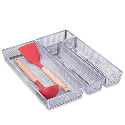 Furniture Life Kitchen Drawer Organizer with Anti-Slip Mats, Mesh Cutlery...